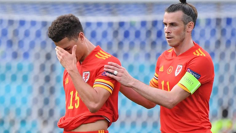 Gareth Bale consoles Ethan Ampadu after his sending off against Italy