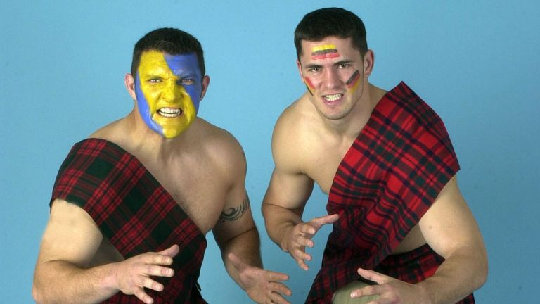 Barrie McDermott and Nathan McAvoy promoting the 2000 Challenge Cup final at Murrayfield in Edinburgh