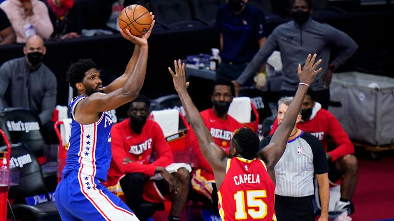 Joel Embiid top-scored with 40 points as Philadelphia levelled their Eastern Conference series against Atlanta.