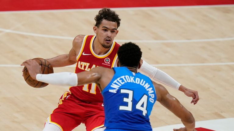 Trae Young's deep three completed an impressive first half for the Atlanta star against the Milwaukee Bucks.