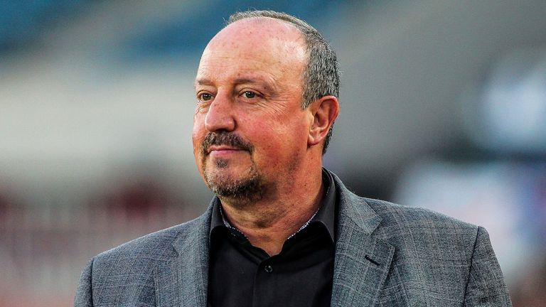 Head coach Rafael Benitez of Dalian Yifang reacts as he watches his players competing against Henan Jianye in their 16th round match during the 2019 Chinese Football Association Super League (CSL) in Dalian city, northeast China's Liaoning province, 7 July 2019. Dalian Yifang defeated Henan Jianye 3-1. (Imaginechina via AP Images)