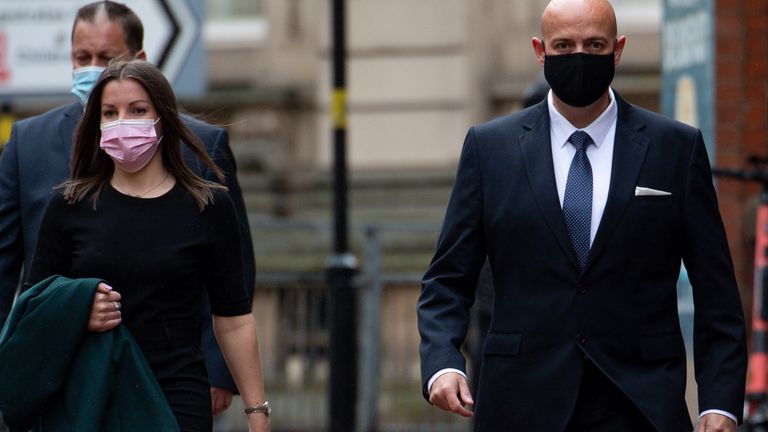 West Mercia Police Constables Benjamin Monk (right) and Mary Ellen Bettley-Smith arrive at Birmingham Crown Court