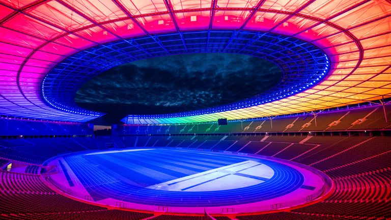 23 June 2021, Berlin: Football: European Championship, Germany - Hungary, preliminary round, Group F, match day 3: The Olympic Stadium in Berlin is lit up in rainbow colours during the match. Photo by: Christophe Gateau/picture-alliance/dpa/AP Images