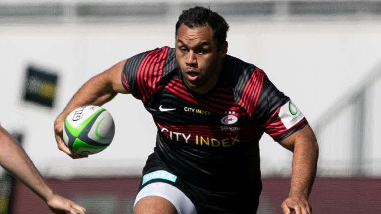 Billy Vunipola ran in two tries as Saracens scored a commanding win over Ealing