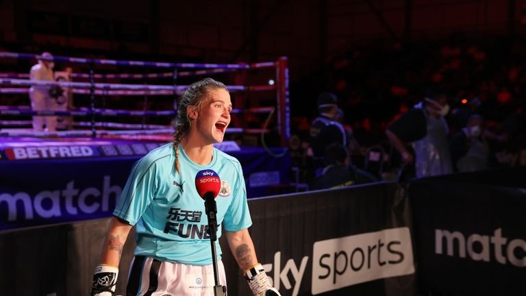 April Hunter vs Klaudia Vigh, Welterweight Contest. 12 June 2021 Picture By Mark Robinson Matchroom Boxing April Hunter interview after her victory.