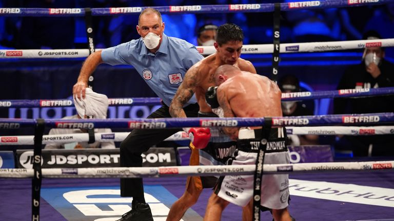 Eliminator for the IBF Super-Lightweight World fight. 12 June 2021 Picture By Dave Thompson Matchroom Boxing Referee with the towel.