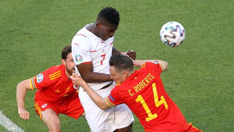 Breel Embolo heads Switzerland in front against Wales