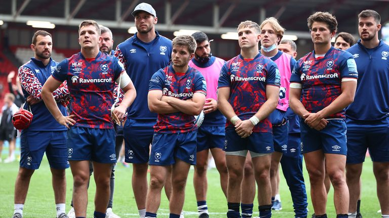 Bristol players look on dejected after their semi-final loss to Quins