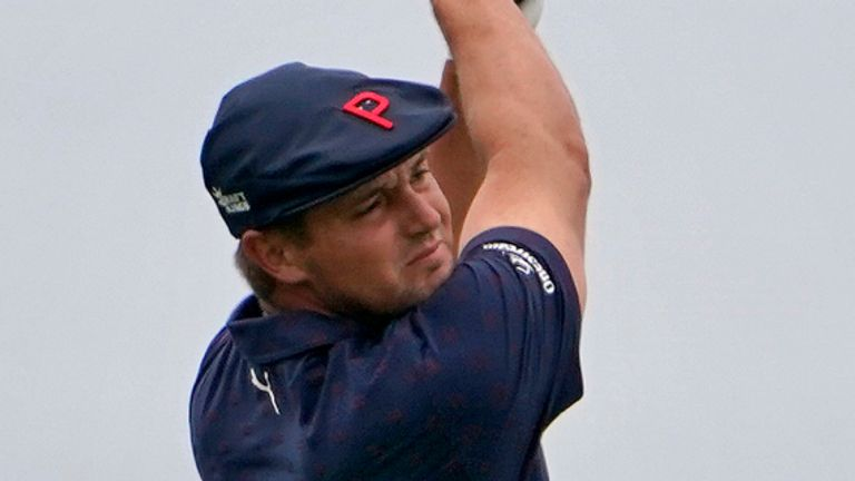 Bryson DeChambeau plays his shot from the fourth tee during the third round of the U.S. Open Golf Championship, Saturday, June 19, 2021, at Torrey Pines Golf Course in San Diego. (AP Photo/Jae C. Hong)