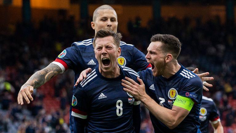 Callum McGregor celebrates after scoring to make it 1-0 Scotland during a Euro 2020 match between Croatia and Scotland at Hampden Park