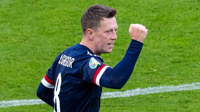 Scotland's Callum McGregor celebrates his equaliser during a Euro 2020 match between Croatia and Scotland at Hampden Park