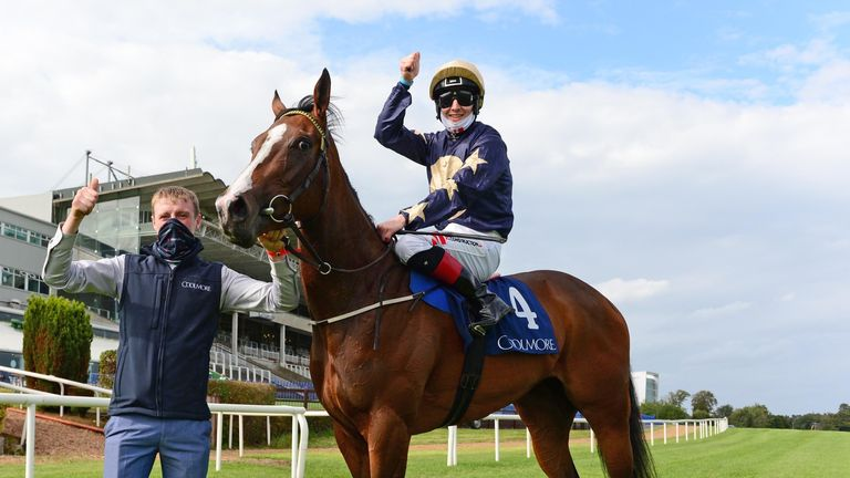 Champers Elysees and Colin Keane after winning the Coolmore America 'Justify' Matron Stakes at Leopardstown