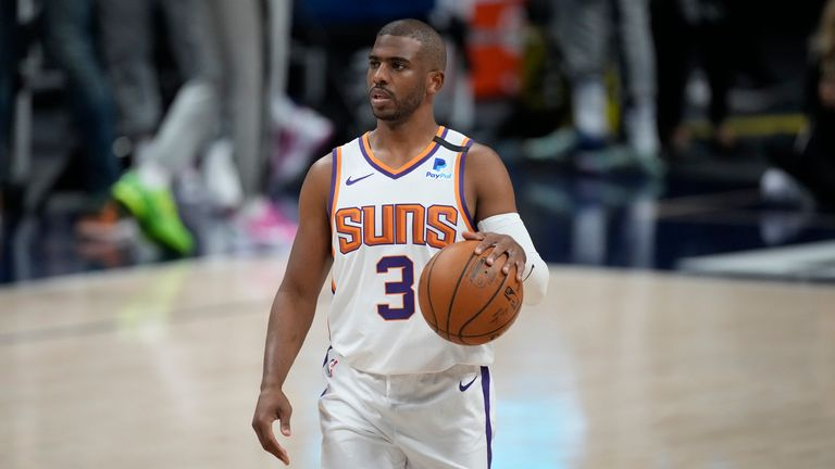 Phoenix Suns guard Chris Paul (3) in the first half of Game 4 of an NBA second-round playoff series Sunday, June 13, 2021, in Denver.  (AP Photo/David Zalubowski)...................
