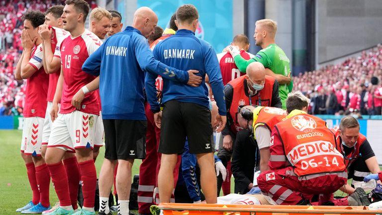 Denmark's medical team attended to Christian Eriksen just before half time