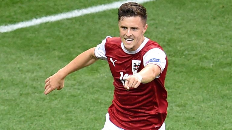 Austria's Christoph Baumgartner celebrates after scoring his sides first goal during the Euro 2020 soccer championship group C match between Ukraine and Austria