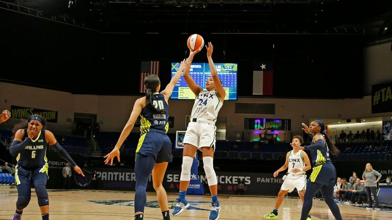 DALLAS, TX - JUNE 17: Napheesa Collier #24 of the Minnesota Lynx shoots the ball against the Dallas Wings on June 17, 2021 at College Park Center, Dallas, TX. NOTE TO USER: User expressly acknowledges and agrees that, by downloading and/or using this Photograph, user is consenting to the terms and conditions of the Getty Images License Agreement. Mandatory Copyright Notice: Copyright 2021 NBAE (Photo by Tim Heitman/NBAE via Getty Images)
