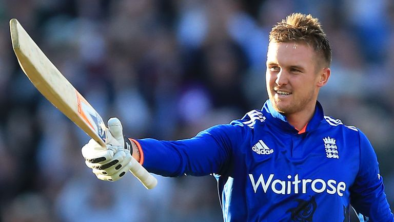 England's Jason Roy raises his bat after reaching a century in the fourth ODI against Sri Lanka in 2016