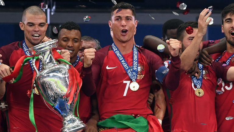 Portugal celebrate their Euro 2016 success