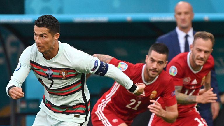 Portugal's Cristiano Ronaldo in action vs Hungary at Euro 2020