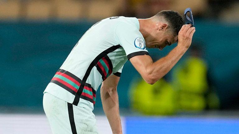 Cristiano Ronaldo following Portugal's defeat to Belgium at Euro 2020