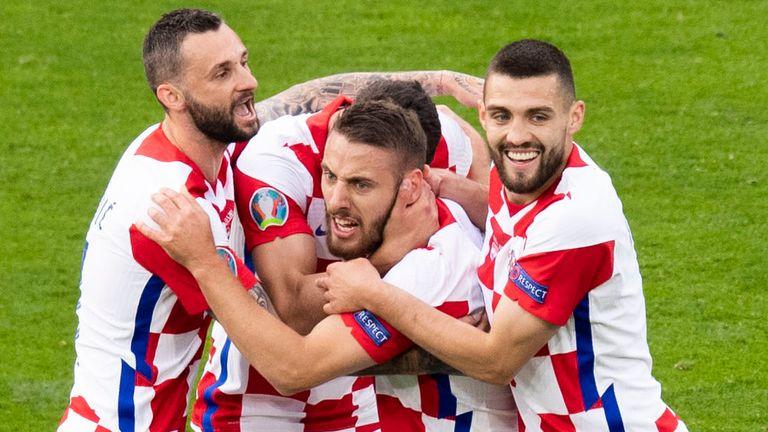 Croatia's Nikola Vlasic (centre) celebrates his opener during a Euro 2020 match between Croatia and Scotland at Hampden Park