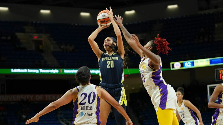 Isabelle Harrison #20 of the Dallas Wings shoots the ball during the game against the Los Angeles Sparks on June1, 2021 at College Park Center in Arlington, TX. (Photo by Cooper Neill/NBAE via Getty Images)