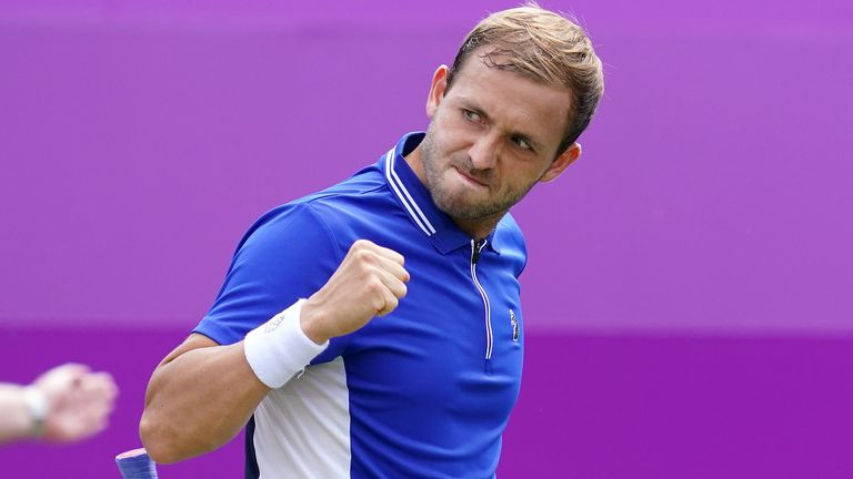 Dan Evans recorded his first win at Queen's Club since 2014