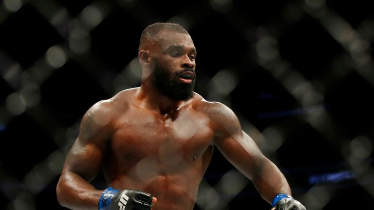 Darren Stewart during a middleweight mixed martial arts bout against Deron Winn, Friday, Oct. 18, 2019, at UFC Fight Night in Boston. (AP Photo/Elise Amendola)