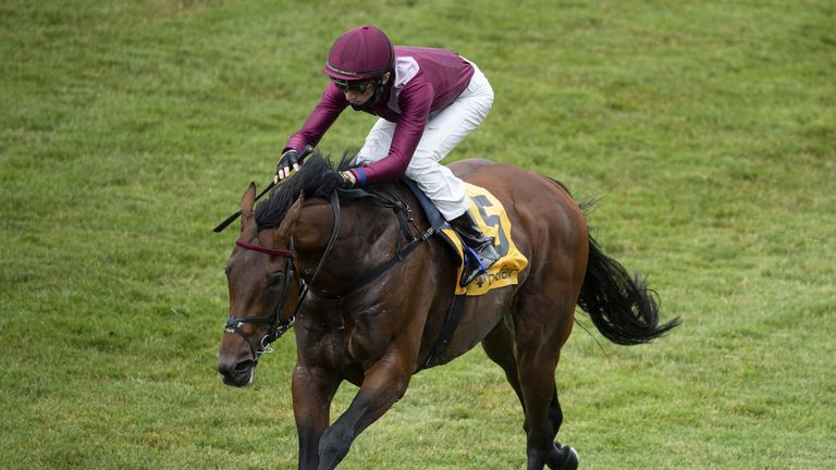 David Egan rides Mishriff to victory in the Listed Newmarket Stakes