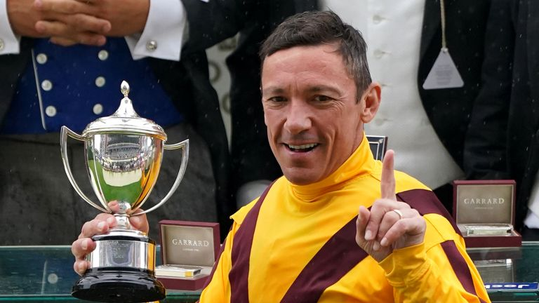 Frankie Dettori with the Commonwealth Cup trophy after victory at Royal Ascot
