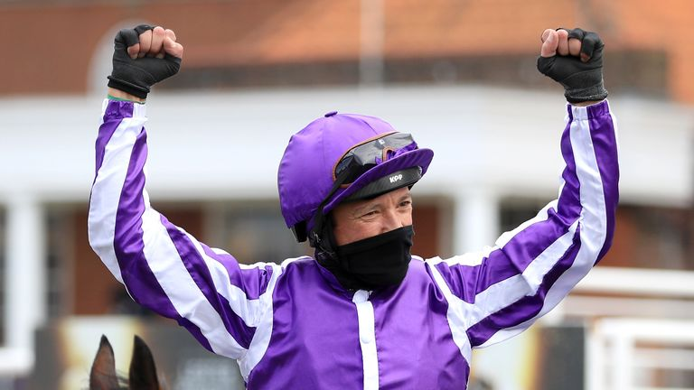 Frankie Dettori celebrates victory on board Mother Earth in the 1,000 Guineas
