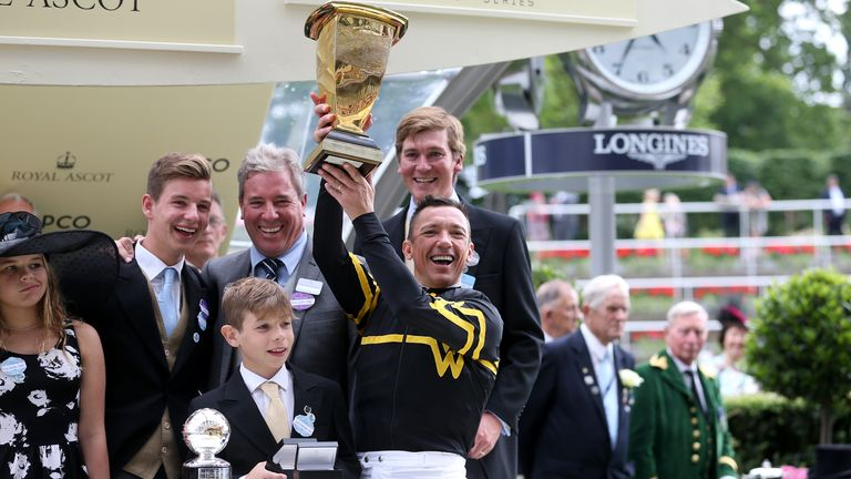 Frankie Dettori celebrates after riding Ward's Undrafted to victory in the 2015 Diamond Jubilee Stakes