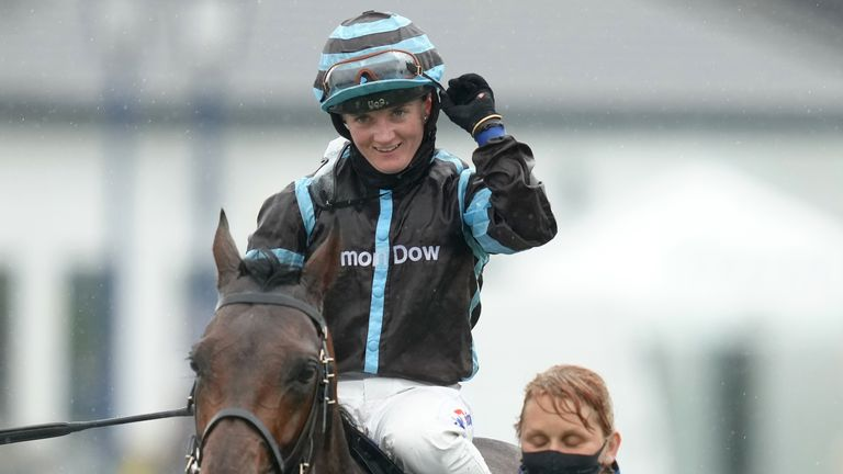 Hollie Doyle on board Corazon Espinado after victory at Epsom