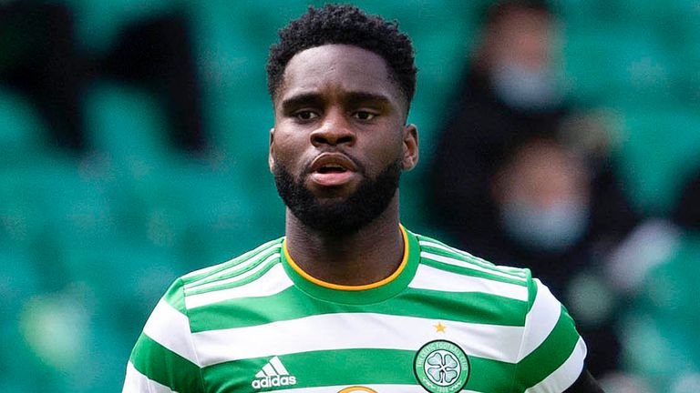 GLASGOW, SCOTLAND - APRIL 10: Odsonne Edouard in action for Celtic during the Scottish Premiership match between Celtic and Livingston at Celtic Park, on April 10, 2021, in Glasgow, Scotland. (Photo by Craig Foy / SNS Group)