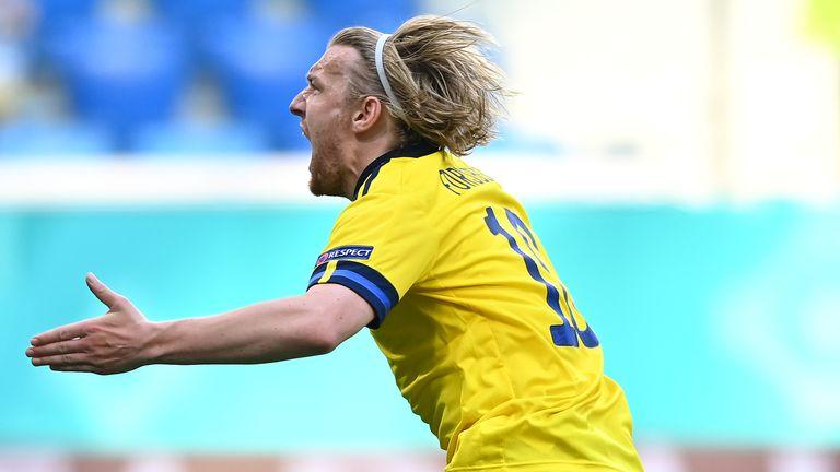 Emil Forsberg celebrates after scoring for Sweden against Slovakia