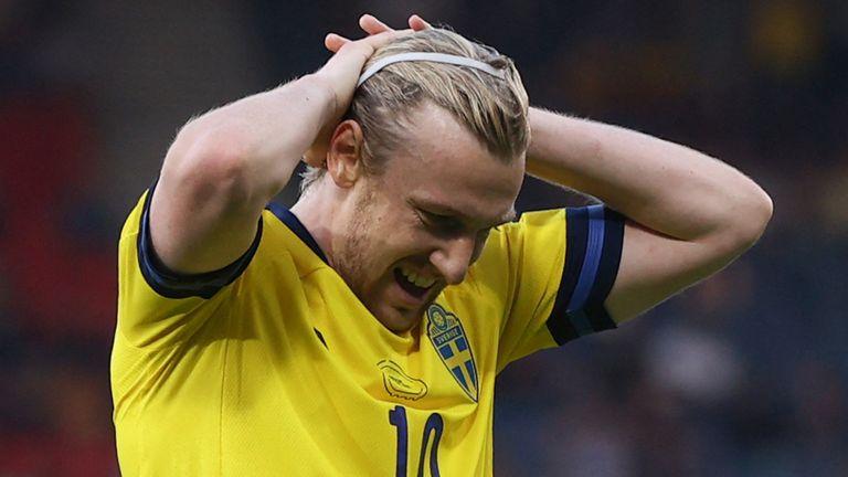 Emil Forsberg rues a missed chance against Ukraine