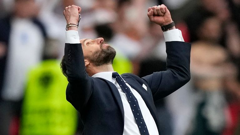 England's manager Gareth Southgate reacts at the end of the Euro 2020 soccer championship round of 16 match between England and Germany at Wembley