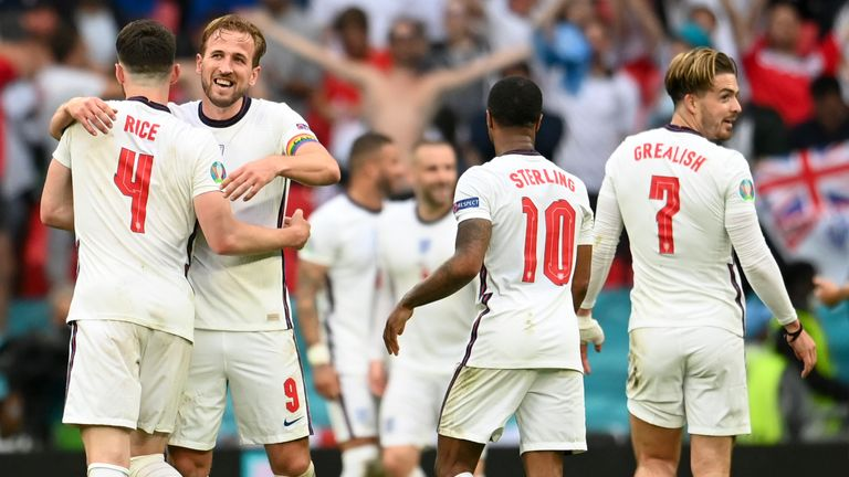 England players celebrate their win over Germany