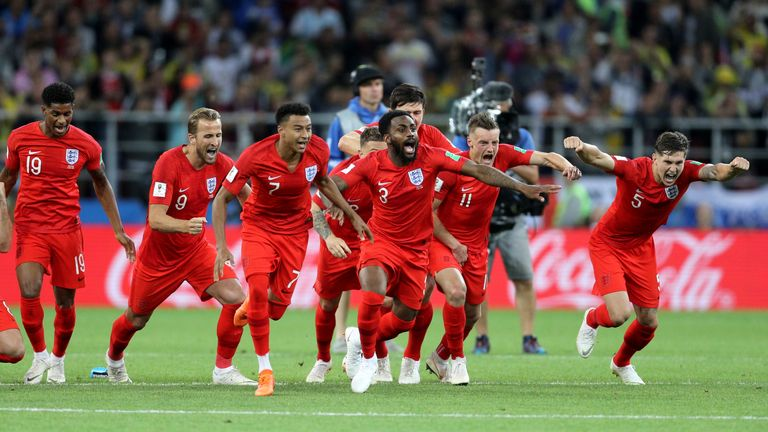 England celebrate after winning the FIFA World Cup 2018, round of 16 match at the Spartak Stadium, Moscow. PRESS ASSOCIATION Photo. Picture date: Tuesday July 3, 2018. See PA story WORLDCUP Colombia. Photo credit should read: Owen Humphreys/PA Wire. RESTRICTIONS: Editorial use only. No commercial use. No use with any unofficial 3rd party logos. No manipulation of images. No video emulation