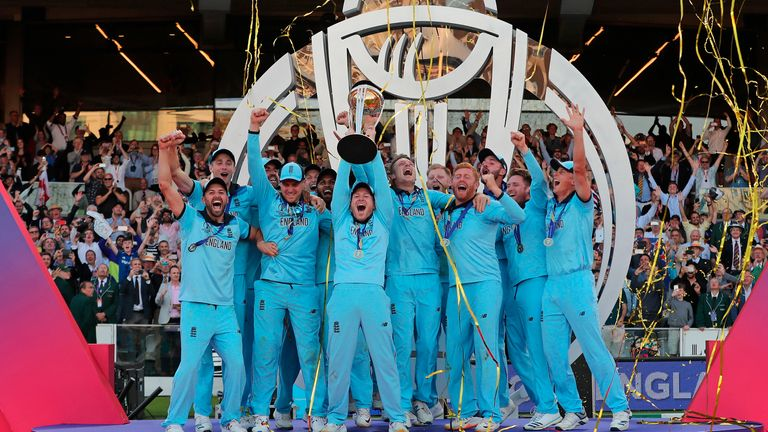 England captain Eoin Morgan lifts the trophy after winning the 2019 Cricket World Cup