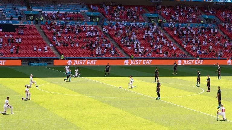 England players were booed by a small section of the crowd when they took a knee ahead of the game against Croatia.