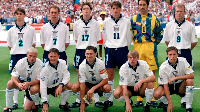 England team pic before Spain quarter-final at Euro 1996