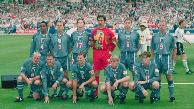 David Platt with the England team before they were knocked out of Euro 96 by Germany
