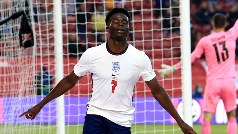 Arsenal's Bukayo Saka scored their first international goal in their 1-0 win over Austria on Wednesday.
