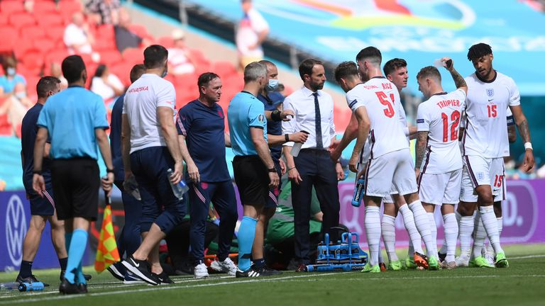 Southgate briefs his players during their win over Croatia