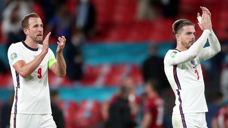 Harry Kane and Jack Grealish applaud the fans after England's win over Czech Republic