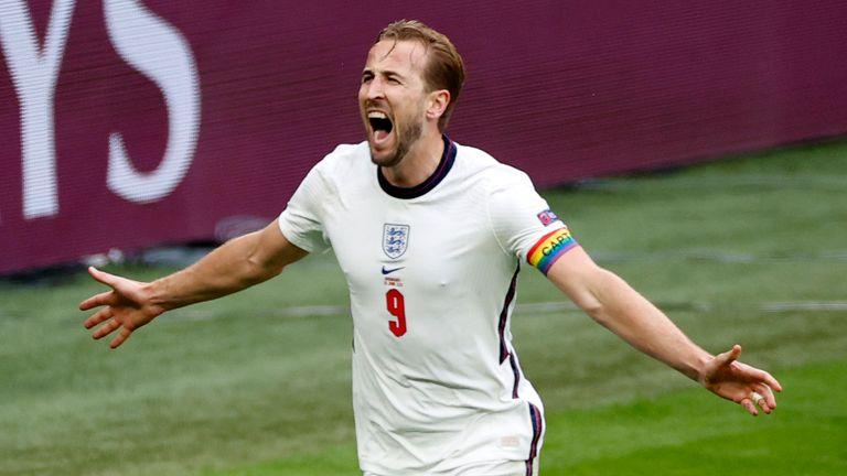 Harry Kane celebrates England's second goal