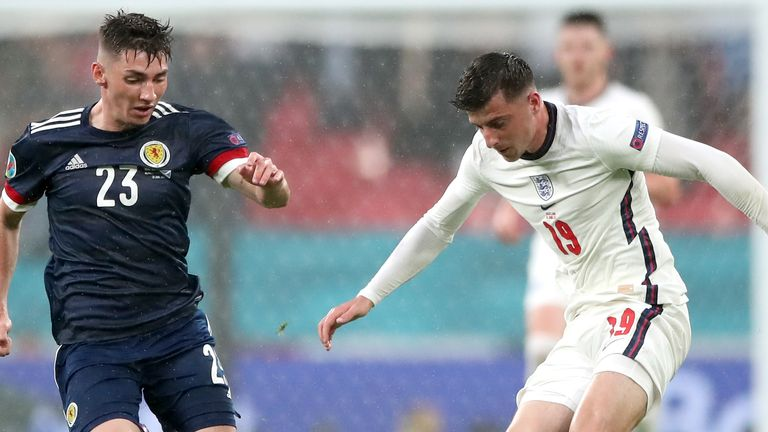 England's Mason Mount faced Chelsea team-mate Billy Gilmour during the draw with Scotland on Friday night