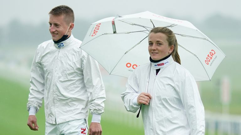 Tom Marquand and Hollie Doyle walk the Epsom course ahead of Oaks day