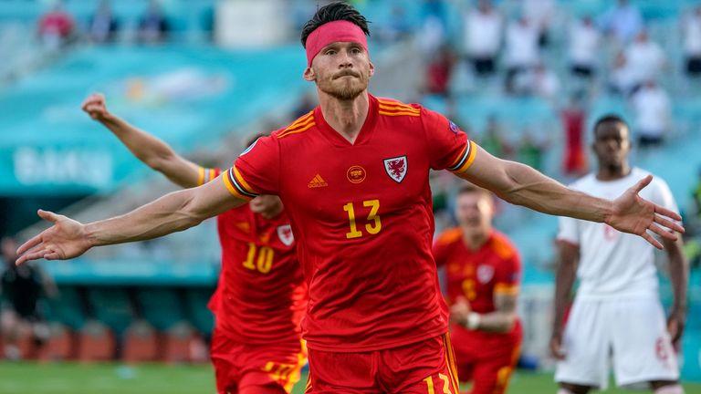 Wales' Kieffer Moore celebrates after scoring against Switzerland
